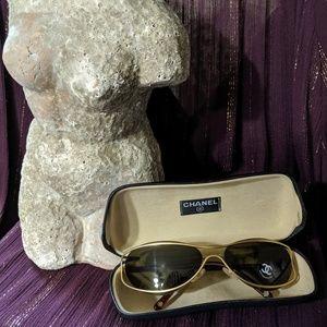 Chanel vintage women's skinny aviator sunglasses